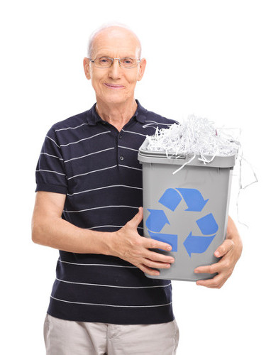 Mature gentleman ready to declutter and recycle